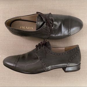 Prada Lace Up Taupe Loafers